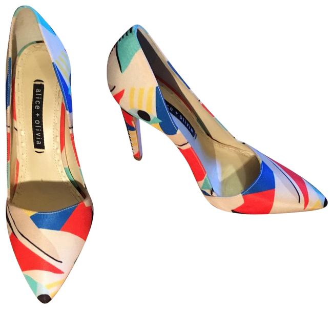 Item - Red Blue Black Beige Yellow and White Multicolored Pumps Size EU 38 (Approx. US 8) Regular (M, B)