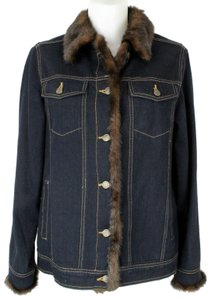 Dennis Basso Faux Fur Blue and Brown Womens Jean Jacket