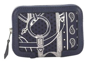 Hermès Wallet Silk Leather Bleu Clutch