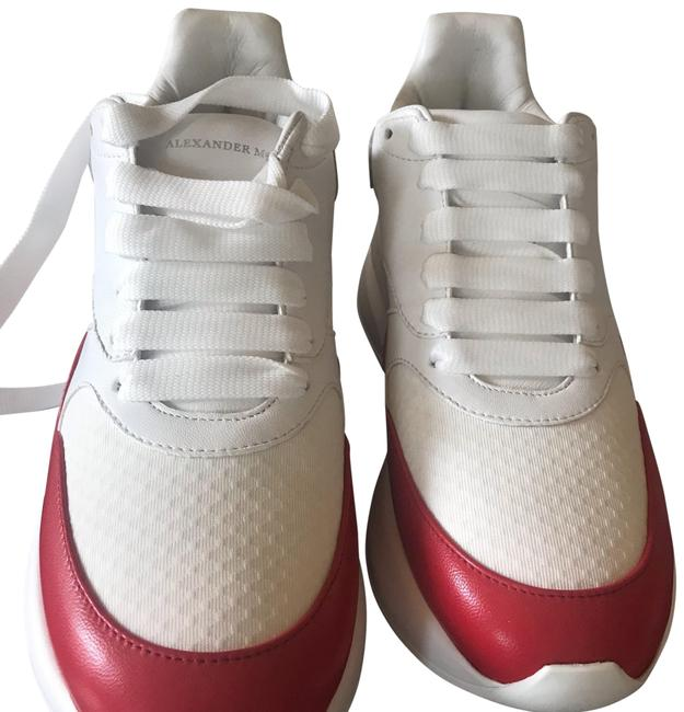 Item - White/ Red Colorblock Leather Sneakers Size US 8 Regular (M, B)
