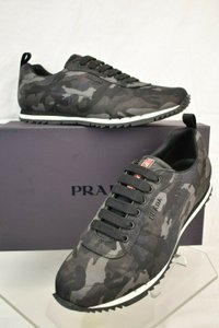 Prada Gray Fumo Camouflage Nylon Lettering Logo Lace Up Sneakers 10.5 Us 11.5 Shoes