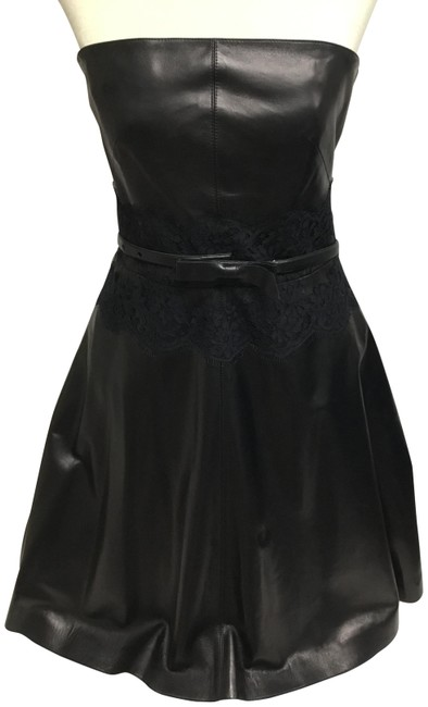 Item - Black Lambskin Strapless with Lace Short Cocktail Dress Size 4 (S)
