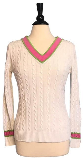 Preload https://img-static.tradesy.com/item/25752317/lilly-pulitzer-tennis-white-with-pink-and-green-trim-sweater-0-1-650-650.jpg