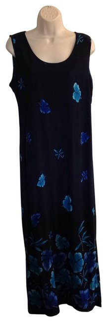 Item - Navy & Turquoise Long Casual Maxi Dress Size 14 (L)