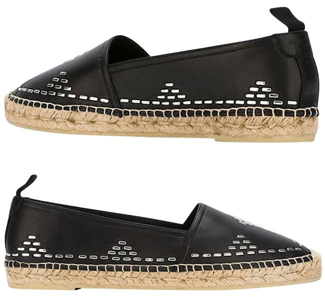Item - Black Embellished Stitch Leather Espadrille Flats Size EU 36 (Approx. US 6) Regular (M, B)