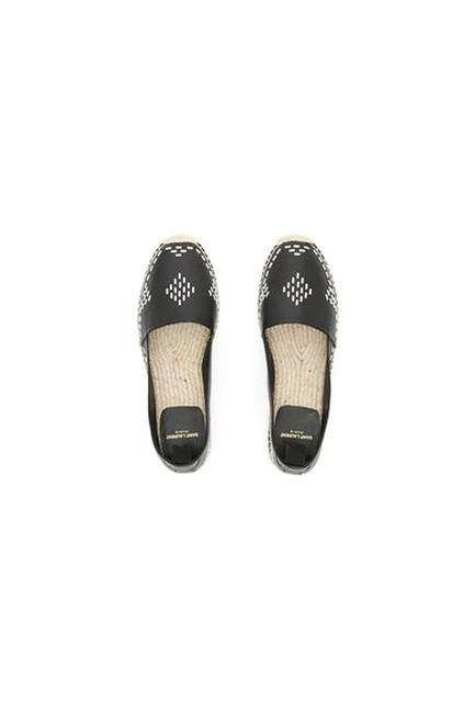 Item - Black Embellished Stitch Leather Espadrille Flats Size EU 37 (Approx. US 7) Regular (M, B)