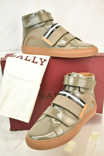 Item - Gray Herick Snuff Patent Leather Hi Top Stripe Logo Sneakers 8.5 Us 41.5 Shoes