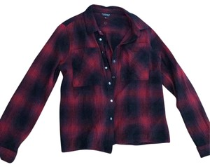 Topshop Button Down Shirt black and red