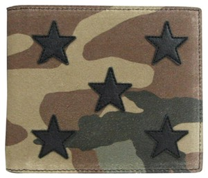 Saint Laurent Camouflage Suede Bi-fold Wallet w/Leather Stars 361320 3066