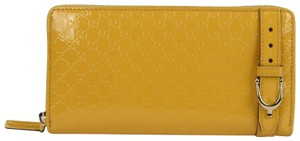 Gucci Yellow Patent Leather Micro Guccissima Zip Around Wallet 309758 7011