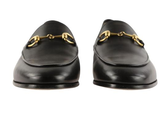 Gucci Leather Gold Hardware Black Flats Image 6
