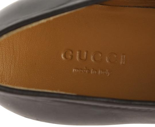 Gucci Leather Gold Hardware Black Flats Image 8