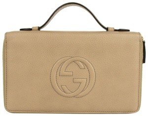 Gucci Women's Cream Leather Mini Case Wallet with Handle 306118 2609