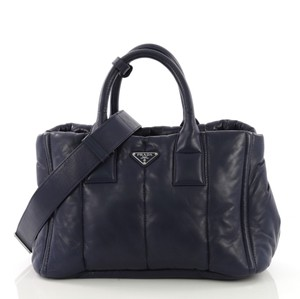 Prada Bomber Convertible Nappa Leather Tote in blue