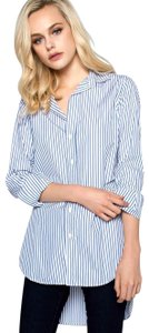 Frank & Eileen Preppy Casual Fall Spring Button Down Shirt Classic Blue White Stripe