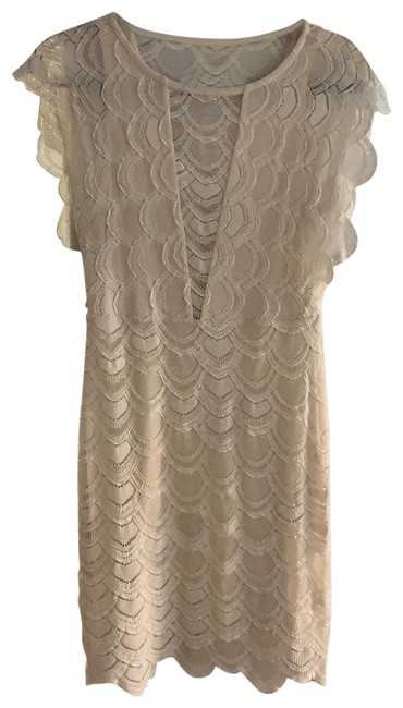 Item - Cream W Body-con Lace W/ Cap Sleeves Small Short Cocktail Dress Size 4 (S)