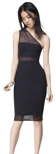 Item - Black One Shoulder Mesh Inset Sheath Mid-length Night Out Dress Size 4 (S)