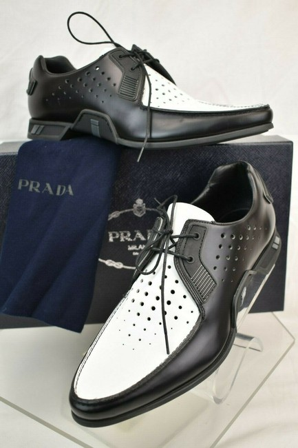 Item - Black White Perforated Uomo Leather Logo Lace Up Oxfords 7.5 Us 8.5 Shoes