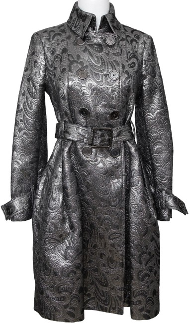 Item - Silver Metallic Brocade Double Breasted Brit Coat Size 4 (S)