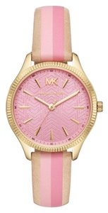 Michael Kors NWT Women's Lexington Three-Hand Striped Leather Watch MK2809
