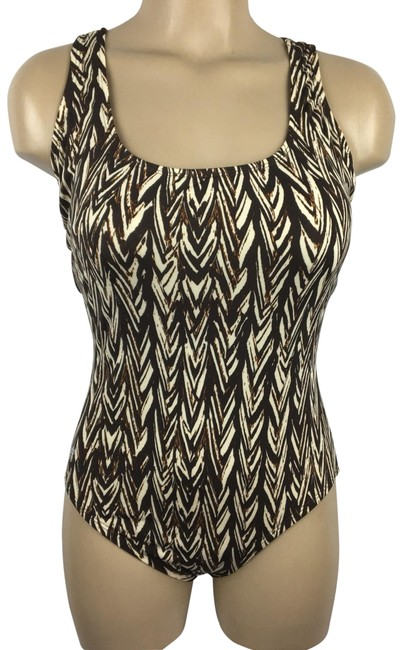Item - Brown & Tan Print One-piece Bathing Suit Size 8 (M)