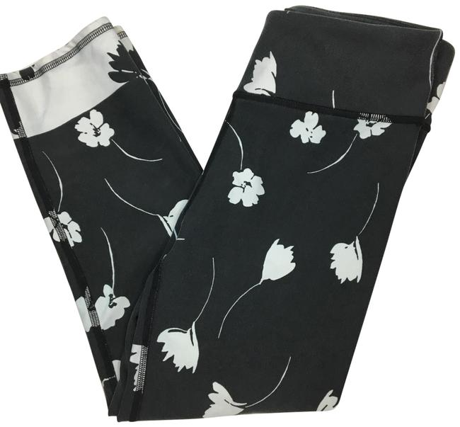 Item - Gray & White Floral Print Activewear Bottoms Size 4 (S)