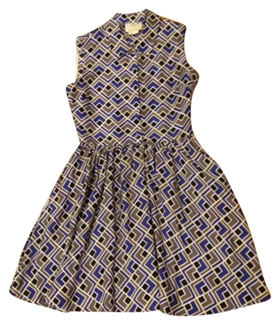 Item - Blue/Black/Taupe/White Shirtwaist Style Short Cocktail Dress Size 2 (XS)