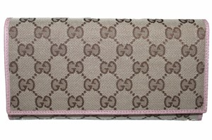 Gucci New Gucci Pink/Brown GG Fabric Canvas Flap Women's Wallet