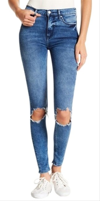 Item - Blue Distressed Busted Knee High Rise Skinny Jeans Size 4 (S, 27)