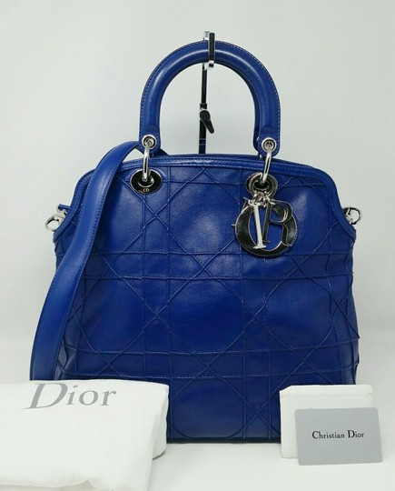 Dior Granville Cannage Lambskin Medium Tote in Royal Blue Image 1