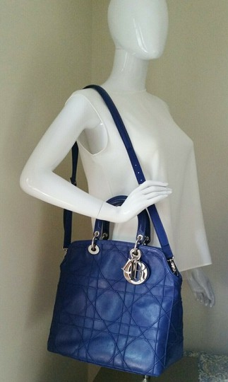 Dior Granville Cannage Lambskin Medium Tote in Royal Blue Image 11