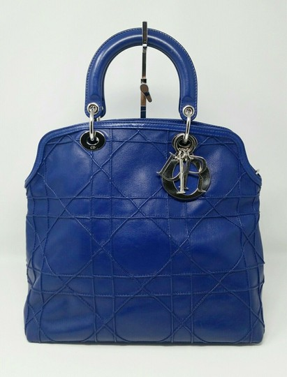 Dior Granville Cannage Lambskin Medium Tote in Royal Blue Image 2