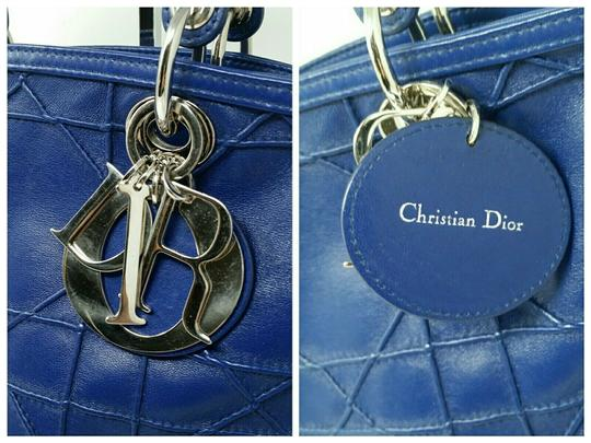 Dior Granville Cannage Lambskin Medium Tote in Royal Blue Image 4