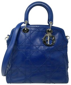 Dior Granville Cannage Lambskin Medium Tote in Royal Blue