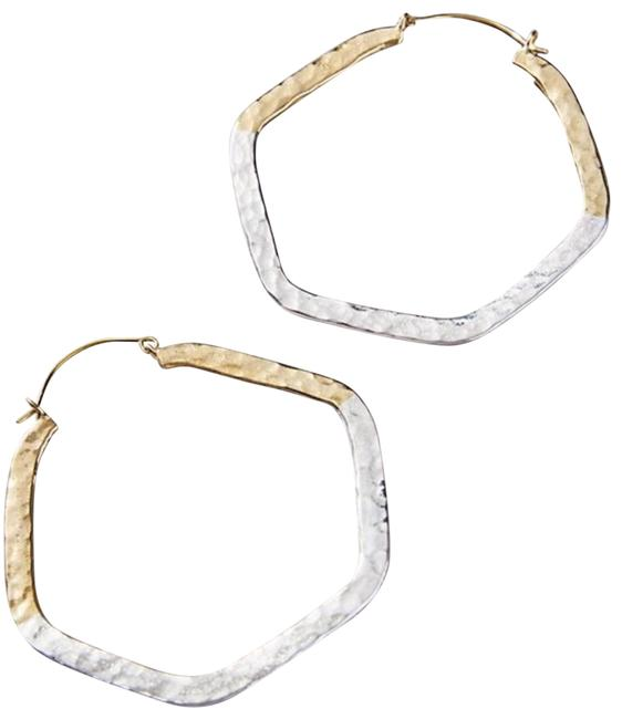 Item - Gold Silver Angled Hoops Earrings
