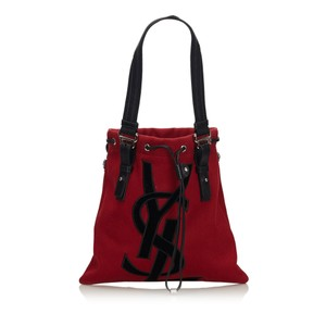 Saint Laurent 9gysto007 Vintage Ysl Canvas Leather Tote in Red
