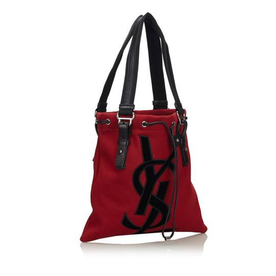 Saint Laurent 9gysto007 Vintage Ysl Canvas Leather Tote in Red Image 1