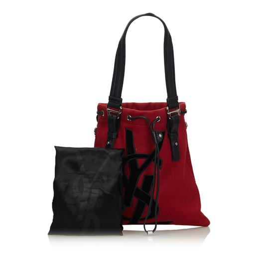 Saint Laurent 9gysto007 Vintage Ysl Canvas Leather Tote in Red Image 10
