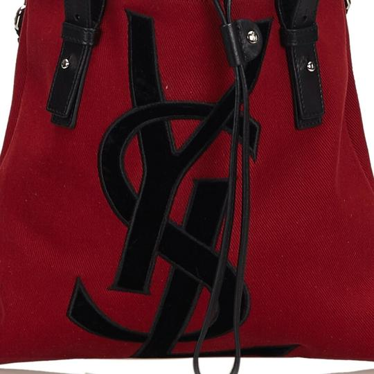 Saint Laurent 9gysto007 Vintage Ysl Canvas Leather Tote in Red Image 11