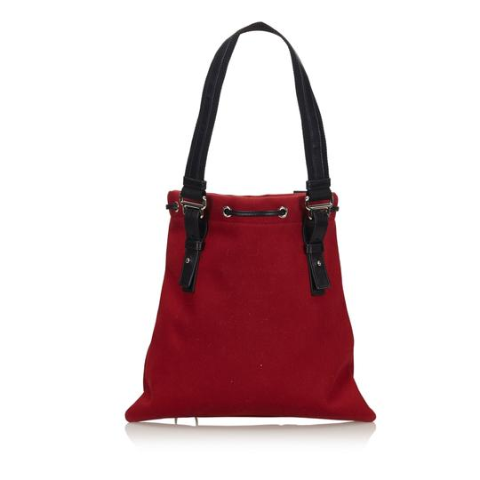 Saint Laurent 9gysto007 Vintage Ysl Canvas Leather Tote in Red Image 2