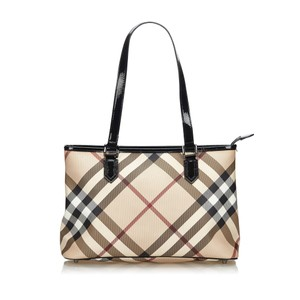 Burberry 9gbuto020 Vintage Plastic Leather Tote in Brown