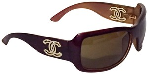 Chanel Chanel 6018 cut out CC logo maroon sunglasses