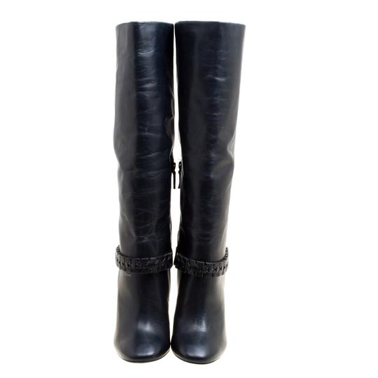 Tory Burch Leather Detail Blue Boots Image 1