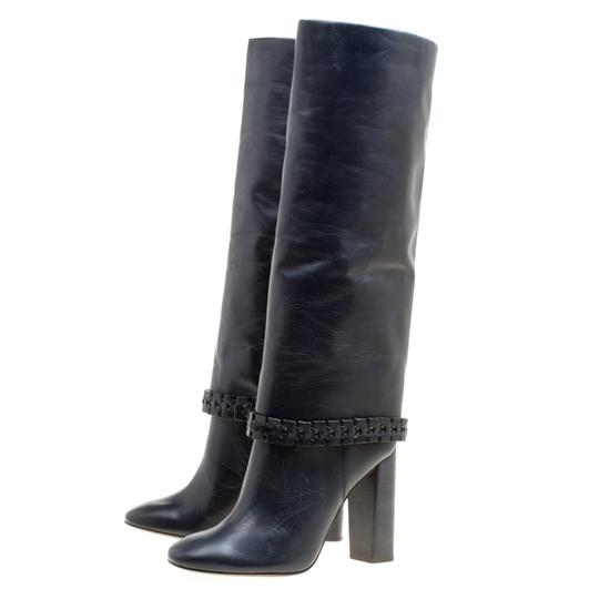 Tory Burch Leather Detail Blue Boots Image 4
