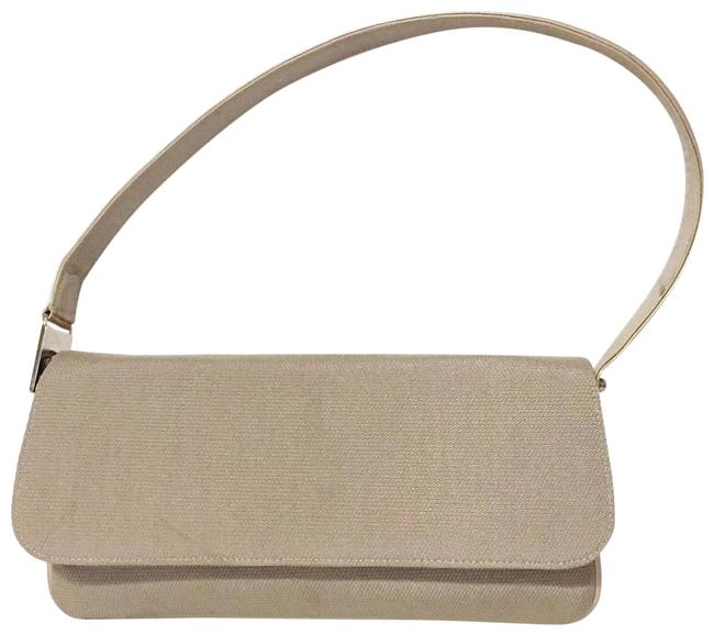 Item - Flap Tan and Leather Cream Fabric Shoulder Bag