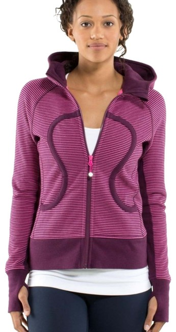 Item - Hyper Stripe Printed Afterglow/Plum Scuba Rare Lined Activewear Outerwear Size 6 (S)