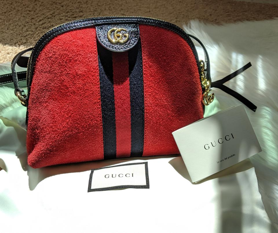 Gucci Shoulder Ophidia Small Red Suede Cross Body Bag 9% off retail