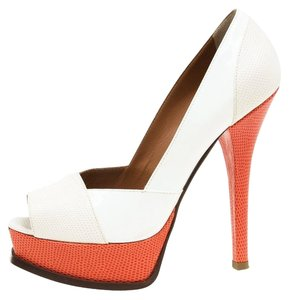 Fendi Two-tone Leather Peep Toe Platform Multicolor Pumps