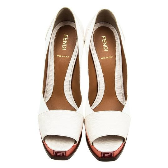 Fendi Two-tone Leather Peep Toe Platform Multicolor Pumps Image 1