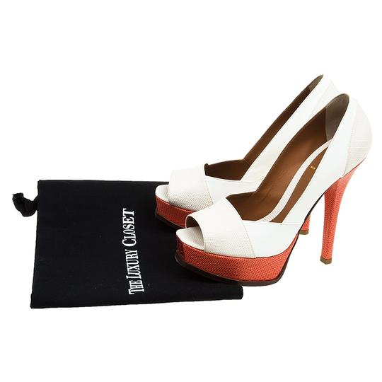 Fendi Two-tone Leather Peep Toe Platform Multicolor Pumps Image 11